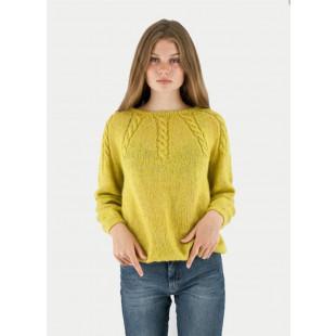 Bluse med snoninger i mohair+nettle+wool