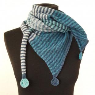 Stribet tørklæde med cirkler blå